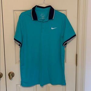 Teal Nike polo with navy collar